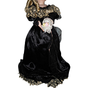 Antique Mourning French Fashion Doll Dress