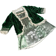 Vintage Green Silk and Silk Velvet Antique-Style Doll Dress