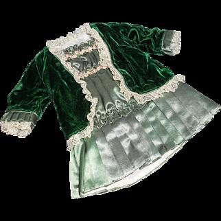 Vintage Green Silk and Silk Velvet Antique-Style Doll Dress