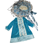 Vintage Blue Velvet and Silk Antique-Style Doll Dress wth hat