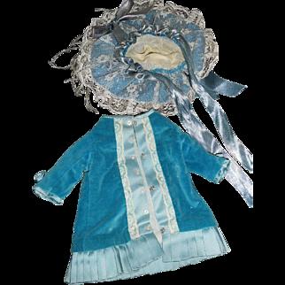 Vintage Blue Velvet and Silk Antique-Style Doll Dress wth hat