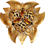 Joseff of Hollywood Russian Gold & Amber Brooch,  c.1930-40