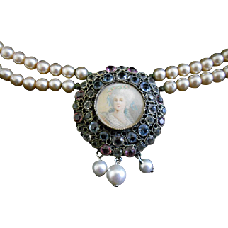 Hobe Wirework Crystal Portrait Glass Pearl Necklace, c.1940