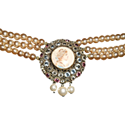 Hobe Wirework Crystal Portrait Triple Glass Pearl Necklace, c.1940