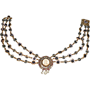 Hobe Wirework Portrait Crystal on Triple Strand Crystal Necklace, c.1940