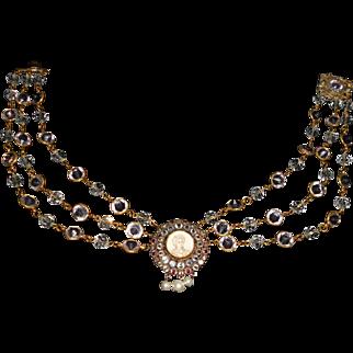 Hobe Wirework Portrait Crystal on Triple Strand Crystal Necklace, c.1940