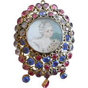 Hobe Wirework Crystal Portrait Pin, c.1940s