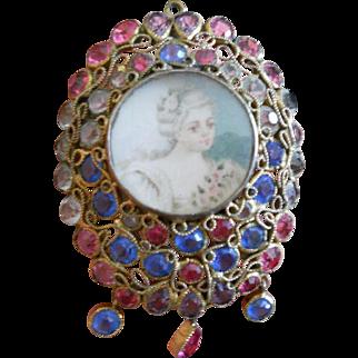 Hobe Wirework Crystal Portrait Pin, c.1940s