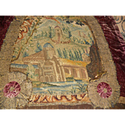 Antique Castle Austrian Tapestry with Velvet and Metallic Trim