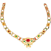 Antique French Medieval Style Colorful Paste Theatre 'Henry VI' Necklace