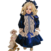 Vintage Blue Taffeta Doll Dress with Hat