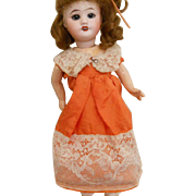 Old Small Burnt Orange Lacy Doll Dress