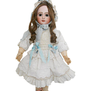 Frilly White Lace Dress and Hat Ensemble for Antique Doll
