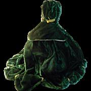 Vintage Two Piece Green Velvet FF Doll Dress - GWTW
