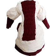 Vintage Silk and Burgundy Velvet Antique Style Doll Dress