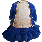 Vintage Pink Silk Doll Dress with Blue Velvet Jacket