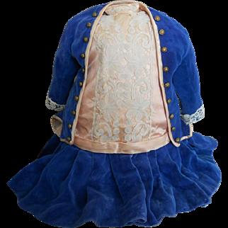 Vintage Pink Silk Doll Dress with Blue Velvet Jacket
