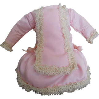 Vintage Pink and White Lace Doll Dress in Antique Style