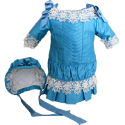 Vintage Blue Silk Doll Dress with Matching Bonnet