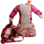 Vintage Pink Silk with Lace Doll Dress with Bonnet in Antique Style