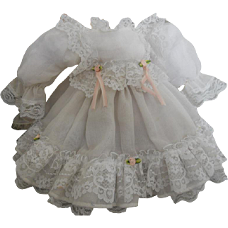 Vintage Sheer White Lace Doll Dress