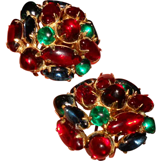 Beautiful Vintage Vogue Gripoix Poured Glass 'Jewels of India' Earrings