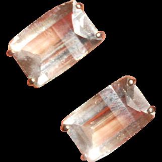 Beautiful Deco Baguette Japanese Rock Crystal and Sterling Earrings
