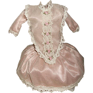 Pretty Pink Vintage Net Lace Over Doll Dress