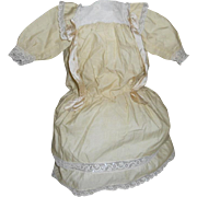 Antique Light Canary Polished Cotton with Lace Doll Dress