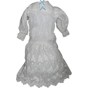 Antique White Cotton Eyelet Lace Lawn Doll Dress