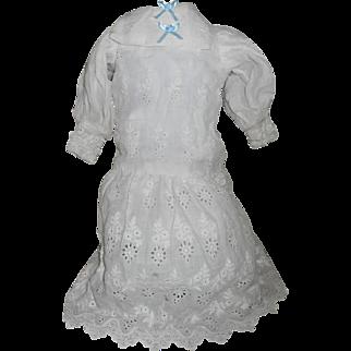 Antique White Cotton Eyelet Lace Lawn Doll Dress