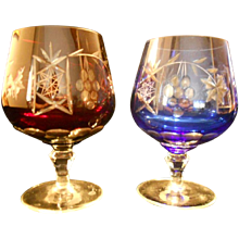 Cut Crystal Brandy Glasses - Set of Two, Red and Blue