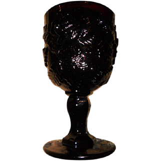 Vintage Amethyst Glass Goblet - Pressed Rose Design