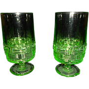Vintage Vaseline Glasses - Set of Two