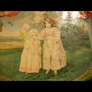 Antique Children's Lithograph Wooden Doll Box