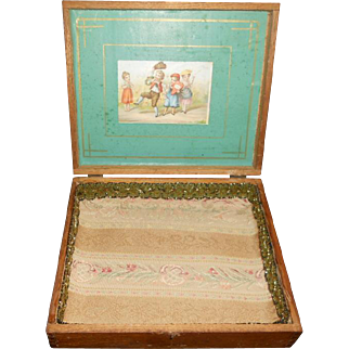 Antique Childrens Lithograph Wooden Doll Box