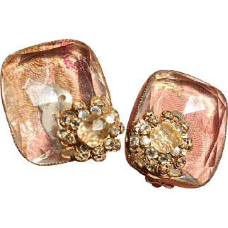 Big Vintage Crystal Earrings with wired in mirrored back rhinestones