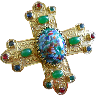 Accessocraft Medieval Multi-colored Poured Glass Gemstone Cross Pin/Pendant