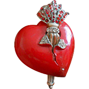 Unsigned Staret Flaming Torch Enamel PIerced Heart Brooch