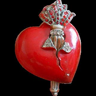 Unsigned Staret Flaming Torch Enamel PIerced Heart Brooch
