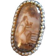 "Antique Sentimental Mourning Sepia ""Gratitude"" Miniature with Hair Gold, Rock Crystal and Pearl Ring, c 1780s"