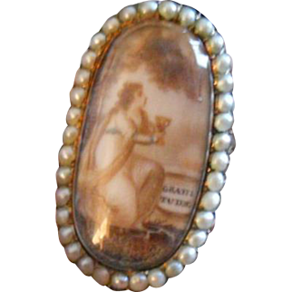 """Antique Sentimental Mourning Sepia """"Gratitude"""" Miniature with Hair Gold, Rock Crystal and Pearl Ring, c 1780s"""