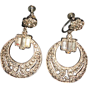 Art Deco Paste Circular Hoop Screw Back Earrings