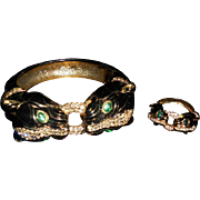 Ciner Enamel Double Headed Panther Clamper with matching Ring