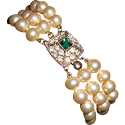 Art Deco Glass Pearl with Glass 'Emerald' and Rhinestone Clasp