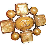 Vintage French Chanel Gripoix Cruciform Brooch