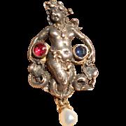 Victorian Renaissance Revival Sterling Mermaid Pin