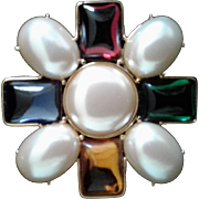 Vintage French Gripoix Monet Cruciform Brooch