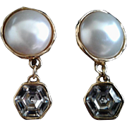Vintage Chanel Faux Glass Pearl and Crystal Drop Earrings in box