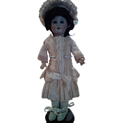Silk Peach Brocade Bleuette Size Doll Dress and Hat